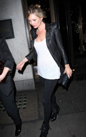 Kate Moss leaving The Wolseley in a black leather jacket and ankle boots after having dinner London, England - 22.07.10 Mandatory Credit: WENN.com