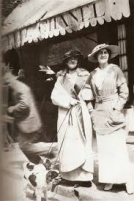 Coco Chanel and her Aunt, Adrienne outside her first store in Deauville